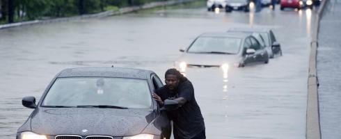 flash flood in a car